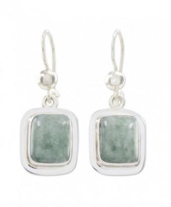 NOVICA Green Jade and .925 Sterling Silver Rectangular Dangle Earrings- 'Modern Maya' - CW127Y1RQU1