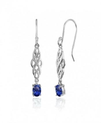 Sterling Silver Created Sapphire Earrings - Created Blue Sapphire -?Sterling Silver - C9186RQD7HT