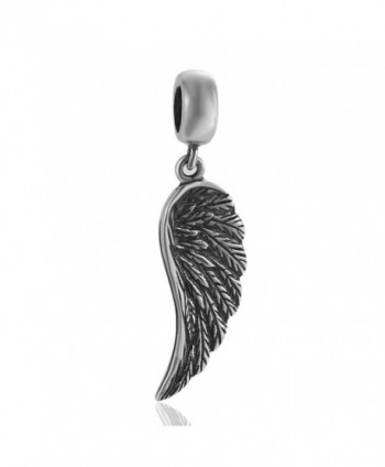 SoulBeads Angel Wing Charms 925 Sterling Silver Feather Pendant Dangle Christian Charm for Charms Bracelet - CT12EAQ1GL7