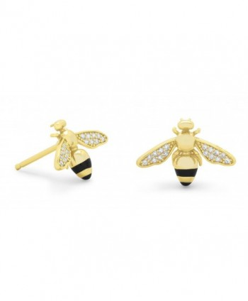 Crown Jewelry 14 Karat Gold Plated Signity CZ Bee Earrings - CQ183LQRO7Y