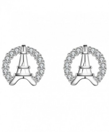 S925 Silver Plated Cubic zirconia Shining Eiffel Tower Women Stud Post Earrings - CF186L0MDRL