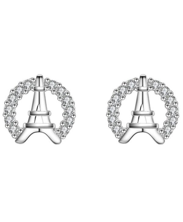 S925 Silver Plated Cubic zirconia Shining Eiffel Tower Women Stud Post Earrings - CF186L0MDRL
