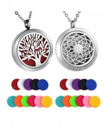 HooAMI Sunflower Aromatherapy Essential Oil Diffuser Necklace Pendant Locket Jewelry - Silver(2pcs lockets) - CC1820CGM5D