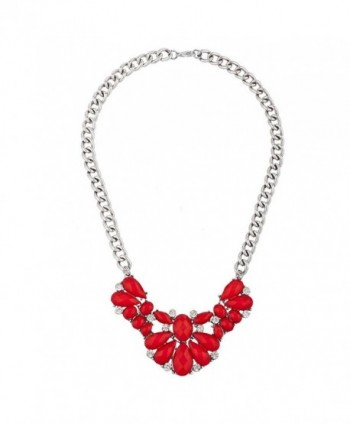 Lux Accessories Silver Tone Crystal Rhinestone Red Shimmer Statement Necklace - C81863EDTI0