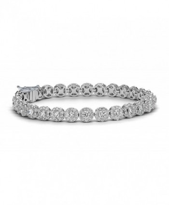 NYC Sterling Women 8MM Floral Halo Design Tennis Bracelet - C51853MH96R