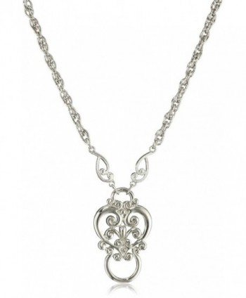 "1928 Jewelry Heart Eyeglass Holder Pendant Necklace- 28"" - silver - C0112AXAOHT"
