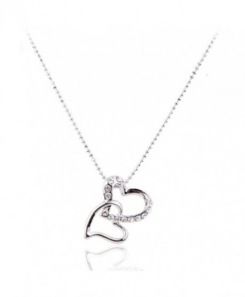 Lureme Pave Crystal Double Heart Silver Tone Pendant Necklace for Women Adjustable Length 01000789-1 - C911E2THM3P