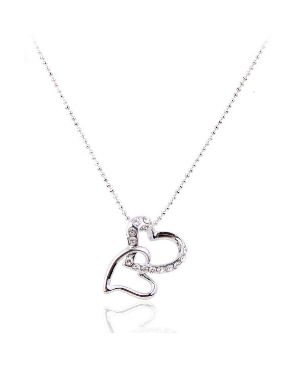Lureme Pave Crystal Double Heart Silver Tone Pendant Necklace for Women Adjustable Length 01000789-1 - C911E2THM3P