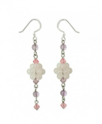 NOVICA Multi-Gem Rose Quartz .925 Sterling Silver Beaded Dangle Hook Earrings- 'Enchanted Bloom' - C4111CHR9X3