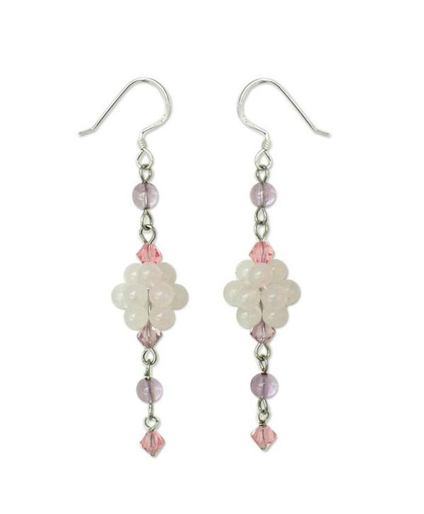 NOVICA Multi-Gem Rose Quartz .925 Sterling Silver Beaded Dangle Hook Earrings- 'Enchanted Bloom' - C4111CHR9X3