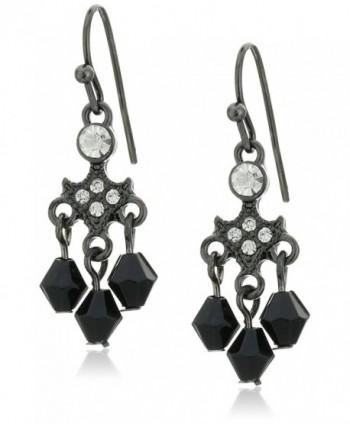 1928 Jewelry Drop Earrings - Black- Clear - CQ12DOP99O7