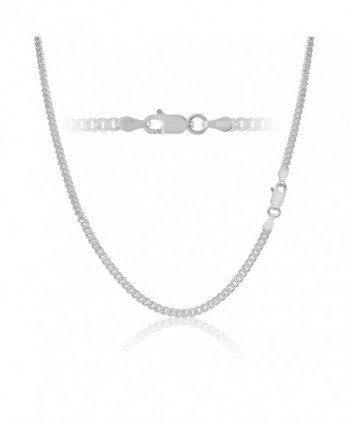 Sterling Silver Cuban Curb Link Chain Necklace or Bracelet 3mm Italy - Style-3mm - CW11IMPQZL5