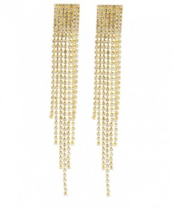 Goldtone 4.5 Inch Chandelier with Tassels and Stones Clip On Earrings (E-1063) - CQ11LZY64F7