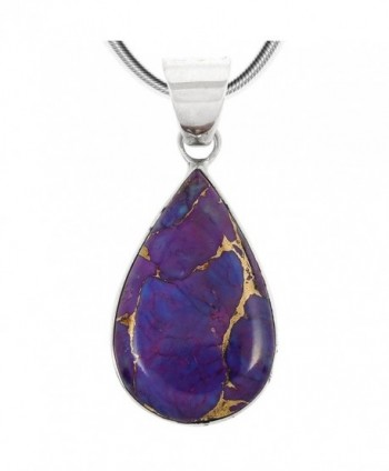 Purple Turquoise Pendant Necklace in Sterling Silver (SELECT from different styles) - Modern Teardrop - CF18C7T9R3N