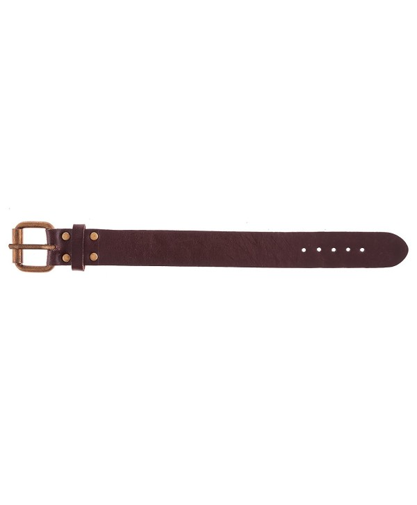 True Heart Style Genuine Leather Cuff Band Buckled Bracelet Wide Chunky - Chocolate Brown - CT11YMZAPJB