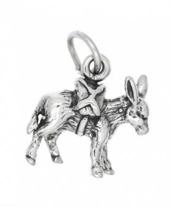 Sterling Silver Oxidized Three Dimensional Donkey Pack Mule Charm - CD115VHMDTF
