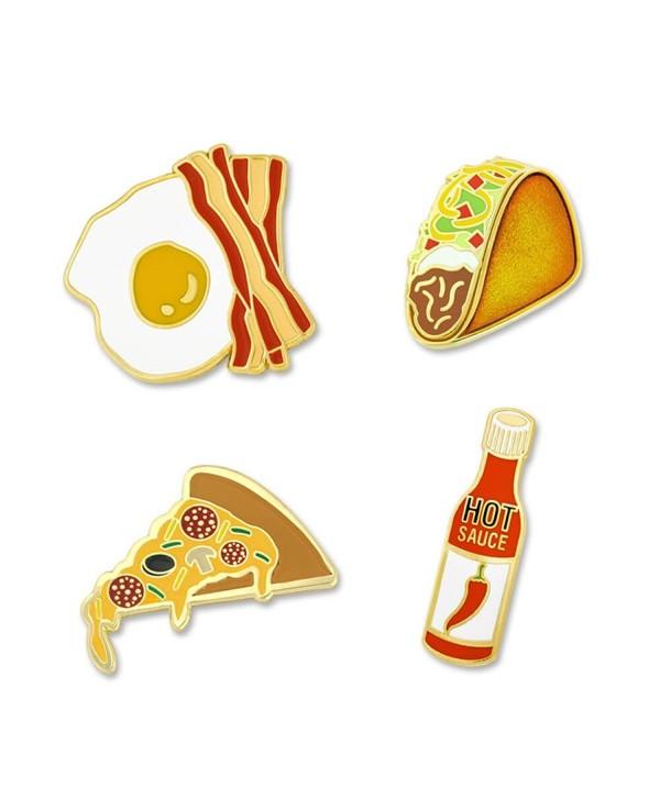 PinMart's Spice it up Hot Sauce Taco Bacon Eggs Pizza Enamel Lapel Pin Set - CU17YSA0HL5