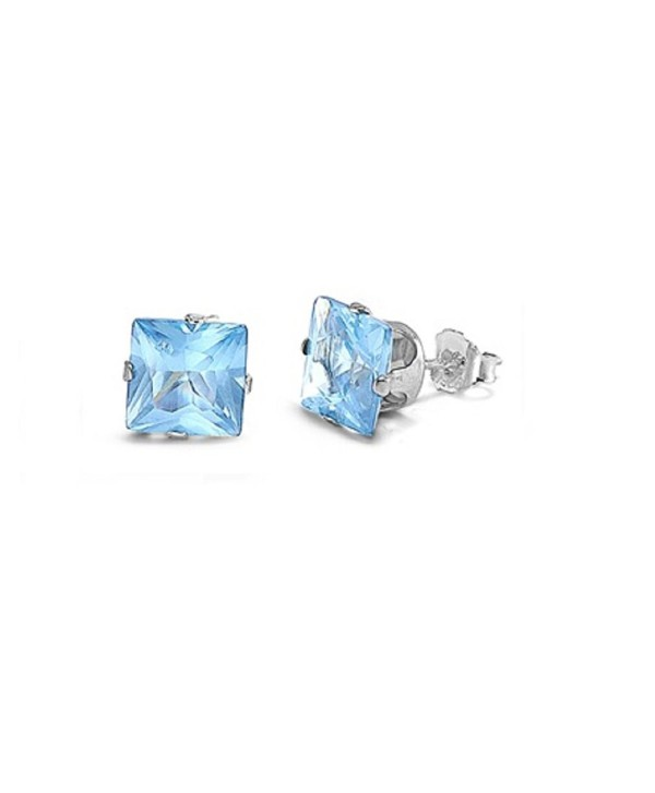 Cubic Zirconia Square Stud Earrings Sterling Silver 8MM - Simulated Aquamarine - C011CG6W24P