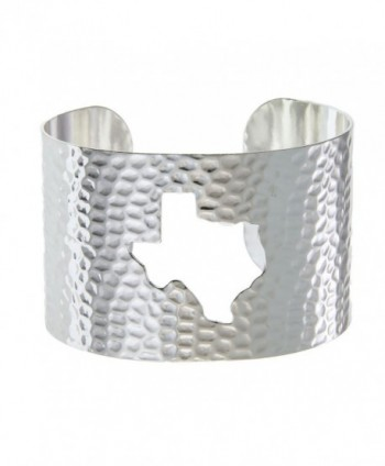 PammyJ State of Texas Silvertone Hammered Wide Cuff Bracelet - CK12EF7BEP5
