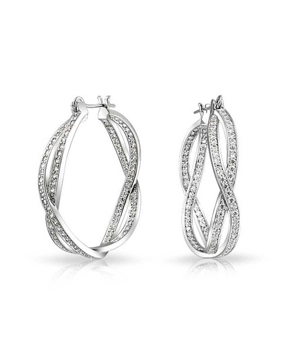 Bling Jewelry Pave CZ Inside Out Infinity Hoop Earrings Rhodium Plated - CW11HKV0TU5