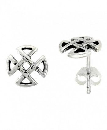 Sterling Silver Quaternary Celtic Knot Stud Earrings- 1/4 inch - CM111VPHYM7