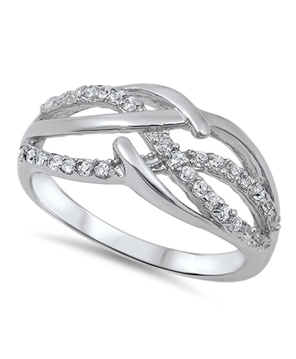 White CZ Criss Cross Infinity Knot Ring New .925 Sterling Silver Band Sizes 4-13 - C6187YXN88O