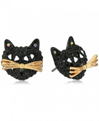 "Betsey Johnson ""Skeletons After Dark"" Pave Cat Stud Earring - C812JS9RIWD"
