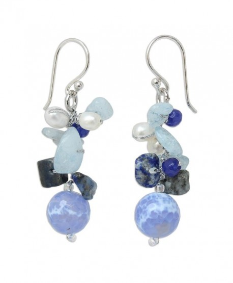 NOVICA Multi-Gem Cultured Freshwater Pearl .925 Sterling Silver Beaded Dangle Earrings- 'Azure Love' - CV11G3W2AM1