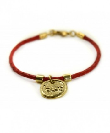 Kabbalah 72 Names of God Gold Plated Red Leather Bracelet SAL for Prosperity - CG12NBA0DYP