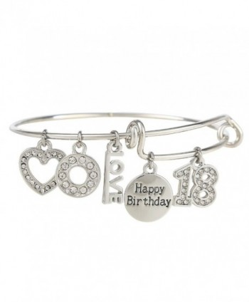 Birthday Expandable Engraved Adjustable Bracelet - Silver - C8187K0998Z
