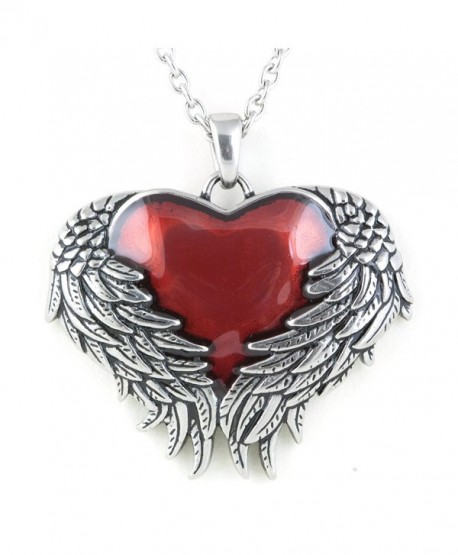 """Controse Women's Silver-Toned Stainless Steel Guarded Heart Necklace 28"""" - CG12GK5DM8R"""