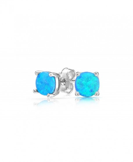Women Sterling Silver Magnificent Lab Created Blue Opal Stud Earring- Ear Pierced Only - CJ1863S5RNG