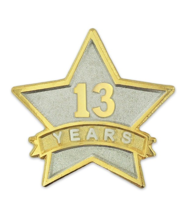 PinMart's 13 Year Service Award Star Corporate Recognition Dual Plated Lapel Pin - C211NKBZS9B