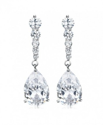 Vesil Wedding Cubic Zirconia Teardrop Dangle Earrings - White - CJ129IM7P87