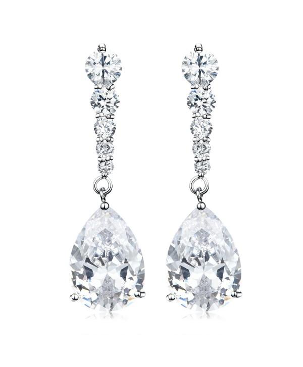 Vesil Wedding Cubic Zirconia Teardrop Dangle Earrings - White - CJ129IM7P87