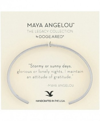 "Dogeared Maya Angelou 2.0 ""Attitude of Gratitude"" Thin Engraved Cuff Bracelet - Silver - CU17YHW5DQE"