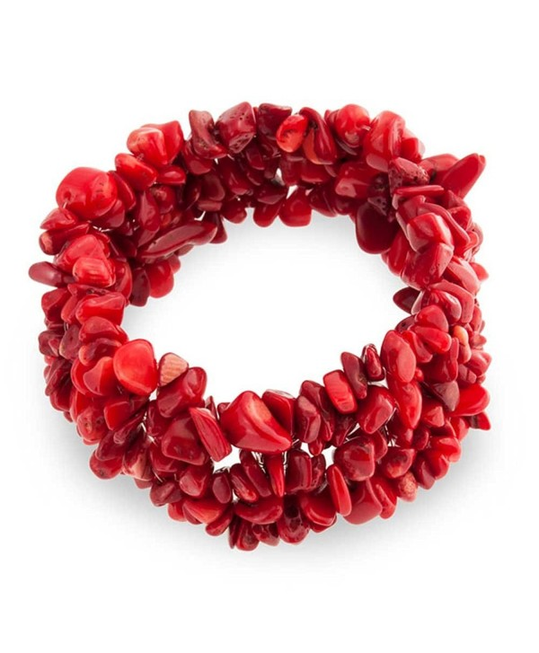 Bling Jewelry Woven Red Dyed Coral Chips Chunky Stretch Bracelet - CE11EISGBW3