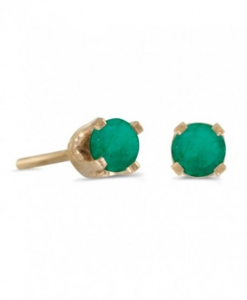 3 mm Petite Round Genuine Emerald Stud Earrings in 14k Yellow Gold - CH115FZMNGL