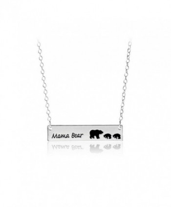 Sweet Family Mama Baby Bear Necklaces Gifts Silver Color Mama Bear Bar Pendant Necklace Jewelry - bar 2 cub - CA17Z7LY245