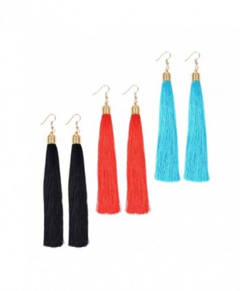 Paxuan Womens Christmas Earrings Bohemian - Red + Black + Blue - CL185DA5T34