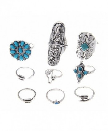 Lureme Vintage Silver Arrow Flower Turquoise Cactus Joint Knuckle Nail Midi Ring Set of 9 Rings(rg001826) - CC1827Y8XE0
