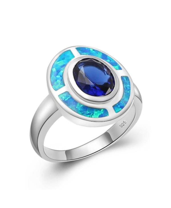 Christmas Gift Band Ring Sterling Silver Australian Blue Opal Sapphire Women Men Jewelry Size 7 8 - CM186DXNZMO
