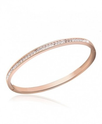 1/3 Cwt Lab Diamond 4mm Hinge Bangle Bracelet in Stainless Steel Plated in 14K Rose Gold - CT17YZOGXIS