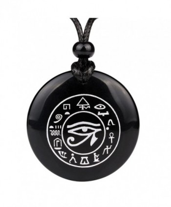 All Seeing and Feeling Eye of Horus Egyptian Amulet Black Agate Magic Cirlce Powers Medallion Necklace - C012ENPZ1MV