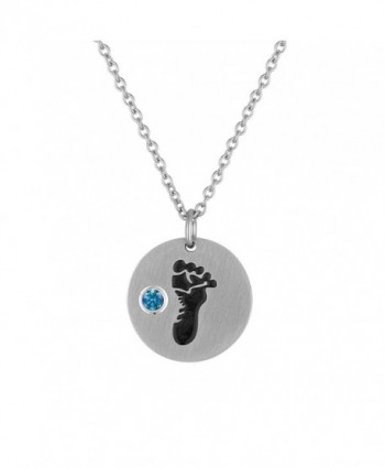 Baby Footprint Pendant With Personalized Birth Month - December - CM12EKH0KYB