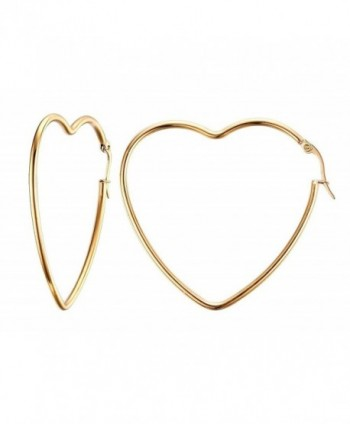 Vnox Womens Girls Stainless Steel Fashion Heart Shape Big Hoop Earrings-Gold Plated - C712GRIXA29