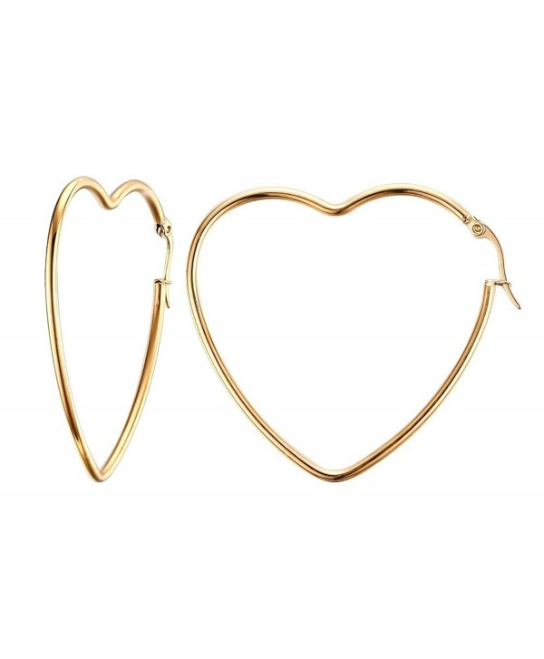 Vnox Womens Girls Stainless Steel Fashion Heart Shape Big Hoop Earrings-Gold Plated - C712GRIXA29