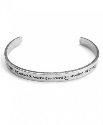 Women's Note To Self Inspirational Lead-Free Pewter Cuff Bracelet - Well Behaved Women - C111Y7HGOXL
