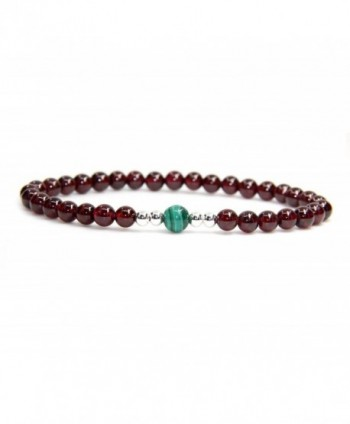 Gemstone Garnet Malachite Sterling Bracelet - 5.5MM AAAAA Grade Wine Red Garnet with 6m Malachite - CI12NUKVCQ9