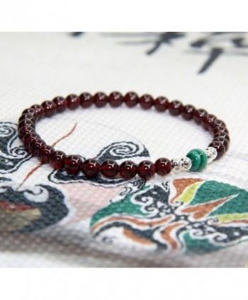 Gemstone Garnet Malachite Sterling Bracelet